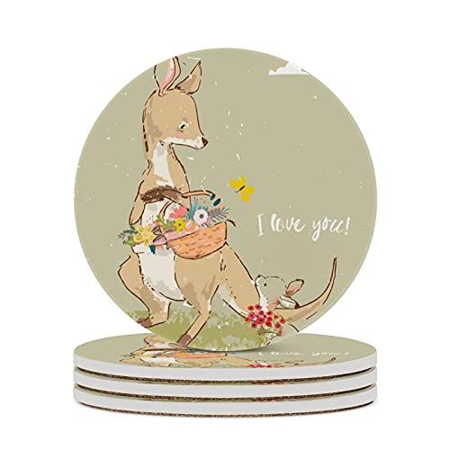 Posavasos para té, animales australianos, gafas, cojín para decoración del hogar, corcho, tazas de oficina, mesa, protección contra manchas, tazas redondas, 4 piezas