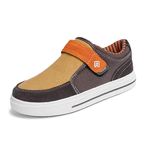 DREAM PAIRS Toddler Boys' 160479-K Brown Orange School Loafers Sneakers Shoes - 7 M US Toddler