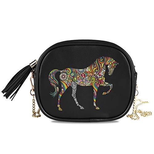ALARGE Bandolera para mujer y niña, diseño tribal étnico, floral, caballo, piel sintética, con correa de cadena de metal ajustable y borla