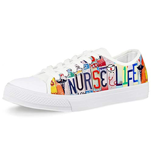 Mumeson Pop License Plates Word Design Nurse Life Low-top Fashion Sneaker Lace Up Walking Canvas Shoes for Girls Women US8