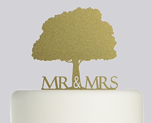 Bride And Groom Mr & Mrs Oak Tree Wedding Cake Topper Acrylic Cake Topper - Gold Sparkle Acrylic