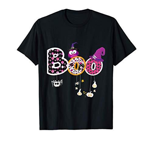 Boo Disfraz de Halloween Arañas Fantasmas Calabaza Sombrero Camiseta