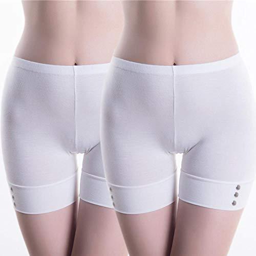 UnterhosenDamen Pantys Damen 2 Pcs Safety Boxershorts Unterwäsche Damen Anti-Leergut Legging Boxershorts Unterhose Höschen M Weiß