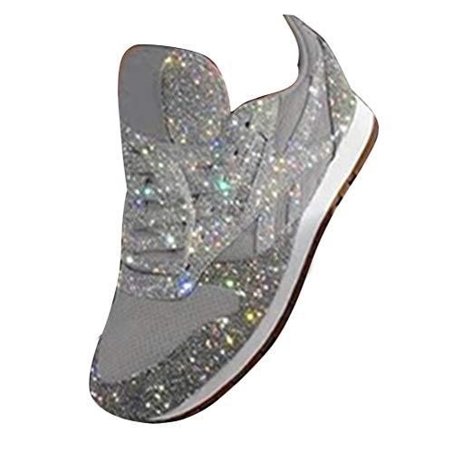ORANDESIGNE Damen Pailletten Sneaker Flach Schuhe Freizeit Schnürer Sportschuhe Glänzende Schuhe Laufschuhe Sneaker Silber 38 EU
