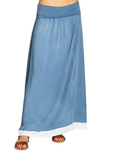 Caspar RO026 eleganter Leichter Langer Damen Sommer Maxirock, Größe:S/M, Farbe:Jeans blau