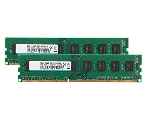 BPX DDR3 1600 MHz 2Rx8 PC3 12800U, 240 Pines DDR3 PC3-12800 Kit de Memoria de Escritorio 8GB (2X 4GB), RAM DDR3 1.5V CL9 Dual Rank UDIMM Módulo de actualización de Chips