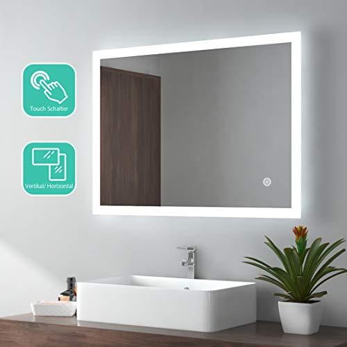 EMKE LED Badspiegel 80x60cm Badezimmerspiegel mit Beleuchtung kaltweiß Lichtspiegel Wandspiegel mit Touchschalter IP44 energiesparend