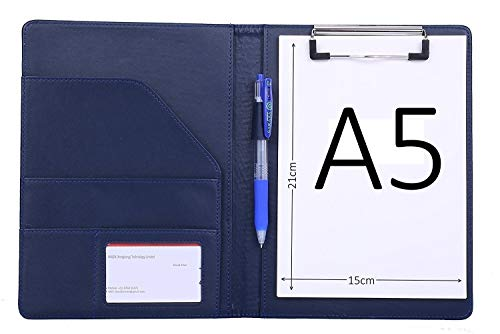 klemmbrett mappe schreibmappe mit klemmbrett A5 organizer A5 mappe din a5 mappe (Blau)