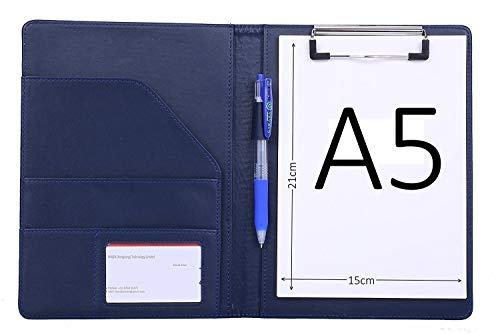 Bloc Note A5 conferencier Cuir Porte documents, Portfolio, Planchette, Support pour bloc-notes format A5 avec organiseur de Conférencier porte-documents,Porte-Bloc ( Bleu )