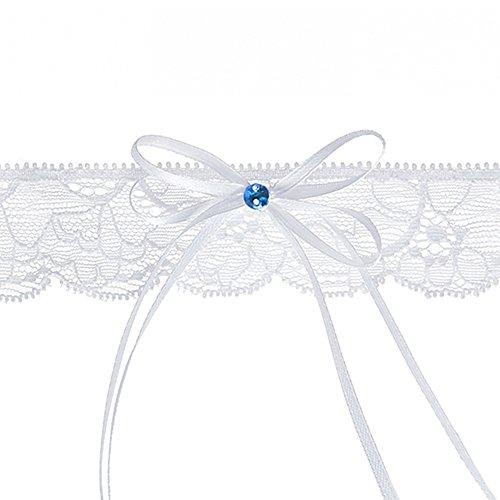 PartyDeco Giarrettiera con Fiocco e Pietra, Bianco e Blu, Larghezza 3,5 cm
