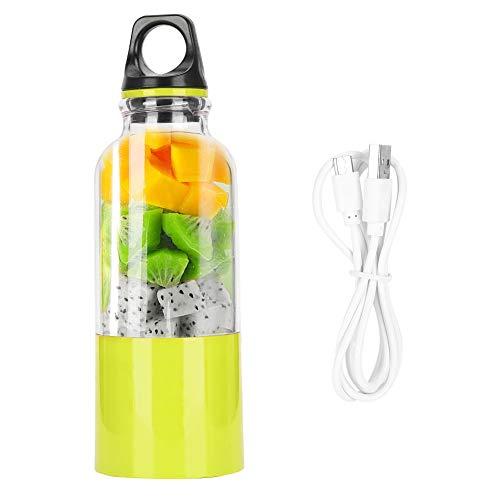 EXID Taza exprimidora de 500 ML, taza exprimidora eléctrica portátil, máquina para hacer zumos de frutas, herramienta automática, recargable por USB, licuadora, licuadora, botella(Verde)