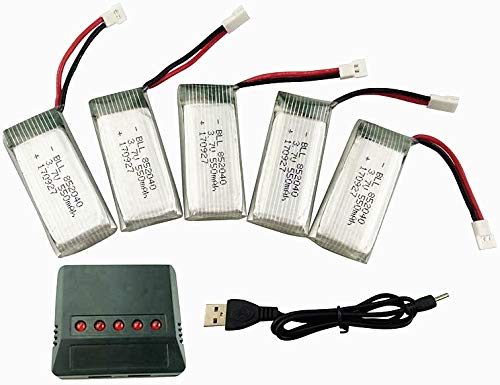ZYGY 5PCS 3.7V 550mah Lipo Batterie & 5 in 1 Ladegeräte für JXD 523 523W Faltender Quad-Rotor-Drohne