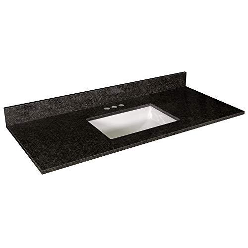 Design House 563213 Granite Vanity Top with Ceramic Rectangular White Bowl, 4-in Centerset, 49 x 22, Black Pearl