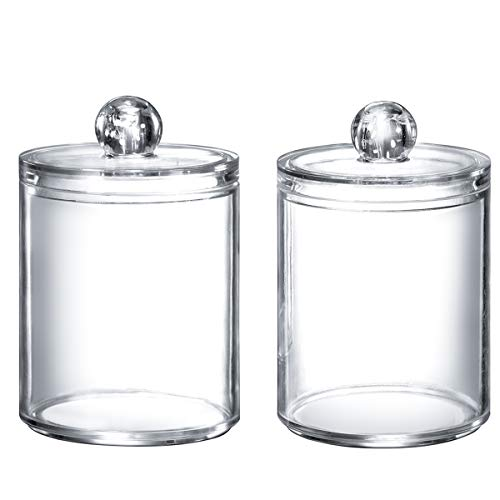 Qtip Dispenser Q-tip Holder Apothecary Jars Bathroom,Premium Quality Clear Plastic Acrylic Container for Q-Tips,Cotton Swab,Cotton Ball,Cotton Rounds,Floss Picks  Small,10 oz,Set of 2