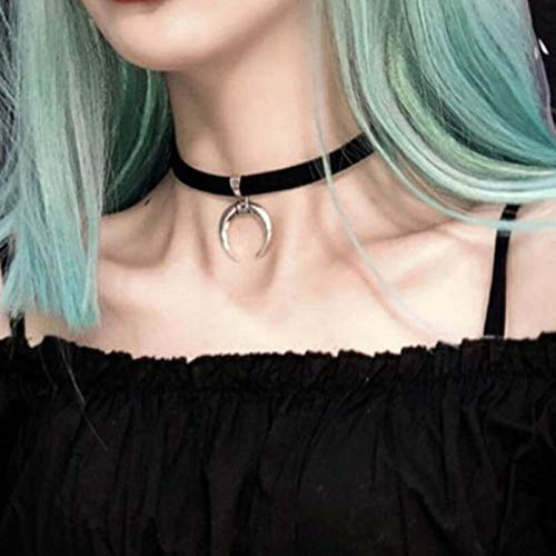 TseenYi Vintage Silver Necklace Moon Pendant Crescent Choker Gothic Black Velvet Necklace Adjustable Tattoo Necklace Jewelry for women and Girls