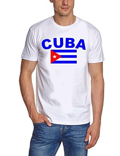 Coole-Fun-t-Shirts Herren t-Shirt Kuba Flagge - Cuba Libre Weiss GR.M