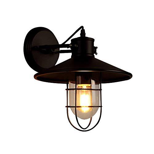 NIUYAO Wandleuchten Wandlampe Lampenschirm Metall & Glas mit Gitter Beleuchtung Innenbeleuchtung Retro Industrie-Schwarz