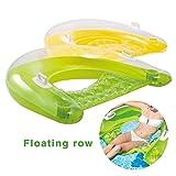 generp fauteuil gonflable pour piscine avec dossier transparent à paillettes, mixte, jaune ou vert