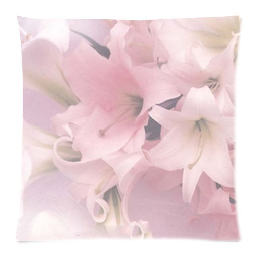 iksrgfvb Hot Artistic Lily Pastels Pale Pink Pillow Cases 45X45 CM
