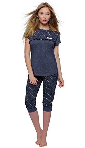 SENSIS Edler Baumwoll-Pyjama Hausanzug aus wunderschönem Oberteil und toller Capri-Hose mit Bündchen, Marineblau, Gr. S (36)