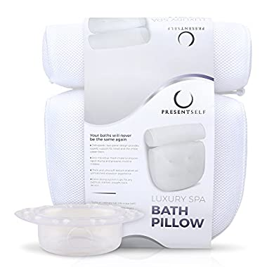 Premium Bath Pillow with Bonus Drain Cover - Luxury Spa Pillow for Back and Neck Support | Large and Extra Thick, Soft and Comfy, Anti-Mold and Anti-Bacterial, Fits Any Bathtub
