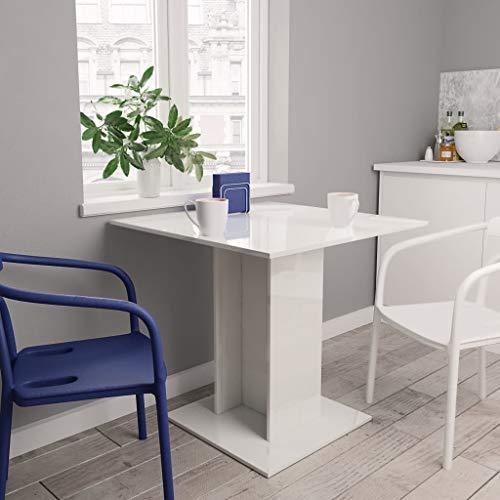Lasamot Mesa de Comedor, Mesa de Cocina, Mesa de Comedor, Mesa de Centro para salón, Comedor Blanco de Alto Brillo 80×80×75 cm aglomerado