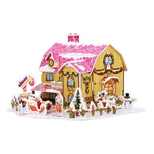 3D Puzzle, Christmas Snow Cottage Model Kits,Jigsaw Puzzles Educational Toy for Kid Adult, DIY Handmade Puzzle Christmas Cottage Jigsaw Puzzles Kits Home Assembly Toys Festive Gift