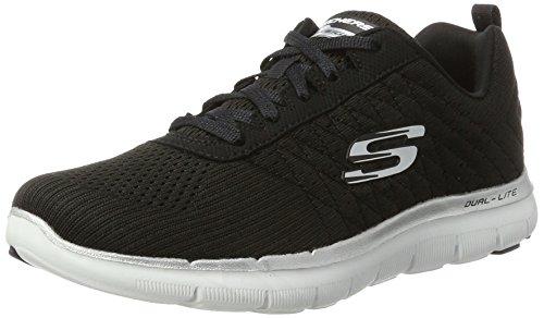Skechers Flex Appeal 2.0-Break Free, Damen Outdoor Fitnessschuhe, Schwarz (Black/White), 37 EU(Herstellergröße: 4 UK)