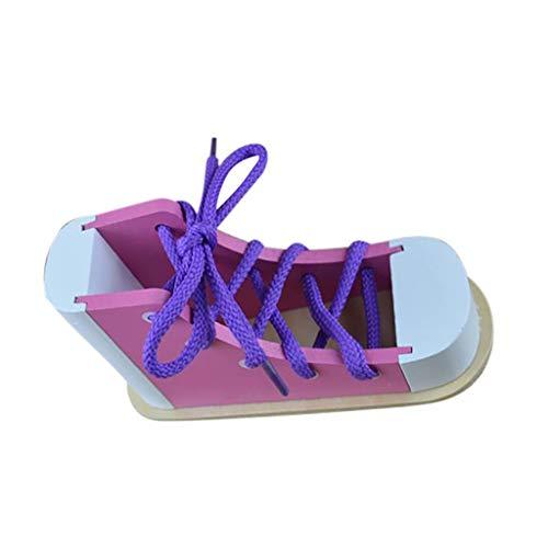 Luccase Holzschuhe Spielzeug Puzzle Simulation Lernen Sie Schuhe Binden Toy Schuh Binden Lernspielzeug Kinder Holz Schnürung Schuhe (B)