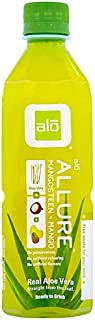 ALO Allure Aloe Vera Juice Drink, Mangosteen Plus Mango, 16.9 Ounce (Pack of 1), Cane-Sugar Sweetened, Aloin-Free, No Artificial Flavors Preservatives or Colors, Gluten Free, Vegan