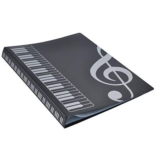 80 Blatt A4 Notenheftmappen Klavierauszug Band Choreinlage Ordner Musikzubehör Wasserdichtes Produkt zur Aufbewahrung von Dateien - Schwarz