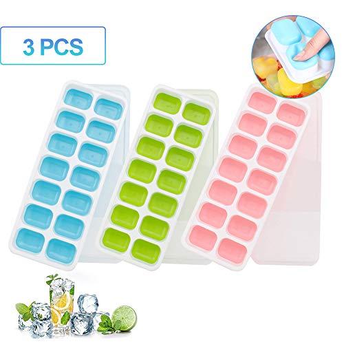 sokey ijsblokjesvorm voor ijsblokjes, 3 stuks, silicone ijsblokjesvorm met deksel, 14-voudige silicone ijsblokjesvorm, BPA-vrij, ijsblokjesvorm voor babyvoeding, feestjes en bars
