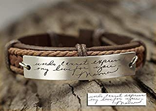 Memorial Signature Bracelet Personalized, Actual Handwriting, Jewelry for Mom, Leather Cuff Keepsake, Mothers Day Gift