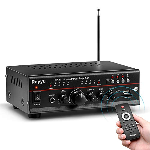 """Rayyu Professional Digital Stereo Reverb MP3 Amplifier, Bluetooth Compatible Home Audio Power Amplifier, 2x25W Mini Dual Channel 1/4""""Microphone Input Jacks, Compact with USB/SD/AUX/FM Radio RA-5"""