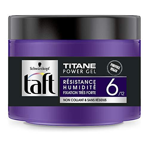 Schwarzkopf - Taft - Titane Power Gel Cheveux - Fixation Très Forte - Longue Durée - Tenue 24h - Coiffant Cheveux - Formule Vegan - Pot 250ml