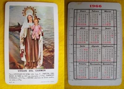 Calendario de bolsillo - Old Pocket Calendar : VIRGEN DEL CARMEN 1966
