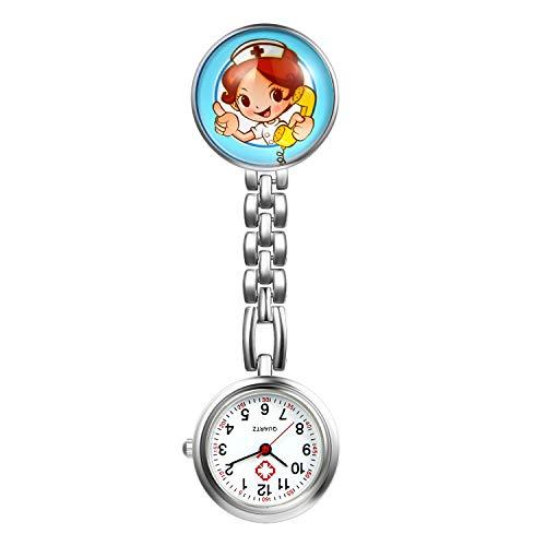 LANCARDO Uhren, Krankenschwester Armbanduhr FOB-Uhr Damen Taschenuhr Analog Quarzuhr aus Legierung LCD037P014