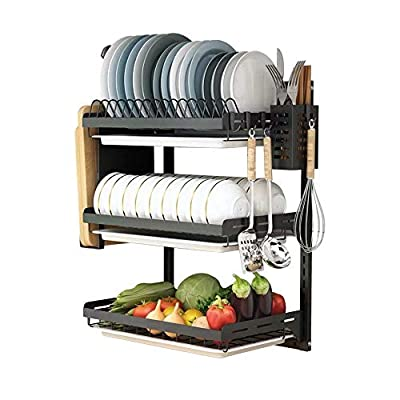 Ctystallove 3 Tier Black Stainless Steel Dish Drying Rack Fruit Vegetable Storage Basket with Drainboard and Hanging Chopsticks Cage Knife Holder Wall Mounted Kitchen Supplies Shelf Utensils Organizer by