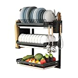 Ctystallove 3 Tier Black Stainless Steel Dish Drying Rack...