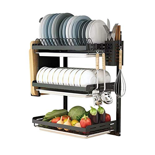 Ctystallove 3 Tier Black Stainless Steel Dish...