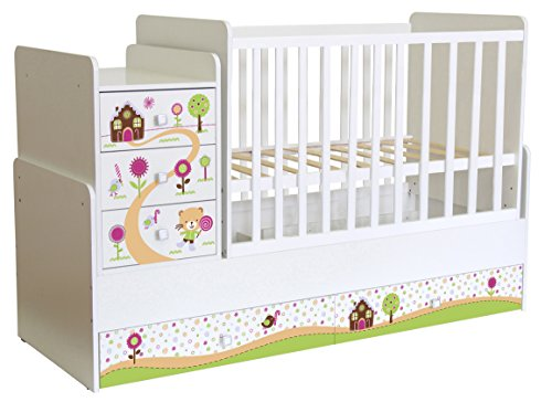 Polini Kids mitwachsendes Kombi-Kinderbett Simple 1100 mit Motive,1442.9.3