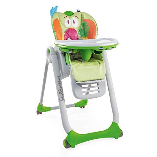 Chicco Polly2Start Seggiolone Pappa per Bambini 0 Mesi - 3 Anni (15 kg), Seggiolone Regolabile con 4 Ruote, Schienale Reclinabile a Sdraietta e Chiusura Compatta - Parrot