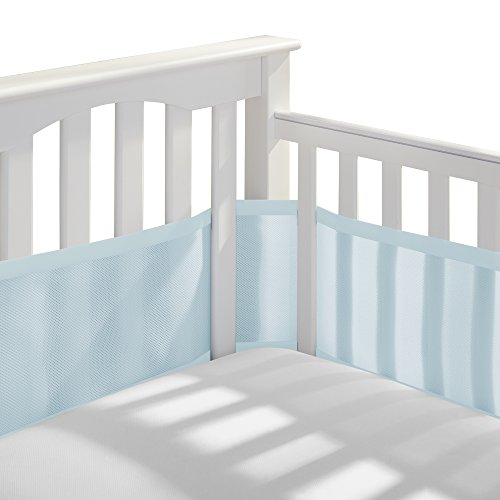 BreathableBaby Classic Patented Safer for Baby AntiBumper NonPadded Breathable Mesh Crib Liner  Blue Aqua