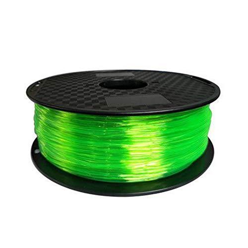 LHF 3d Printer Filament,TPU Flexible Filament 1.75mm 0.8kg Spool,Dimensional Accuracy + - 0.02 Mm For 3D Printer Transparent Green Tpu 800g