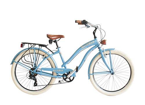 Via Veneto 26'; Sun on The Beach Cruiser Bicicleta Azul Retro Vintage Bici Mujer - Airbici