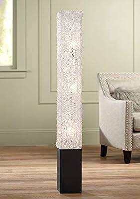 Modern Floor Lamp Noir Black Column Textured Clear Acrylic Rectangular for Living Room Bedroom Office - 360 Lighting