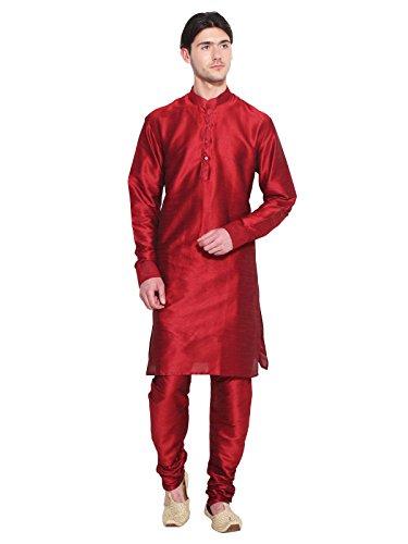 Bollywood Conjunto de pijama Kurta para hombre, estilo étnico, de diseño, prenda de vestir para fiesta hindú, color rojo -  Rojo -  XXXXXL