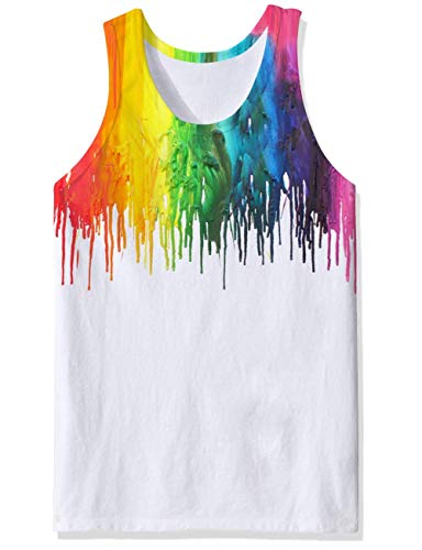 chicolife 3D Melting White Print Funny Pattern Realistic Underwaist Gym Tank Tops for Men XX-Large