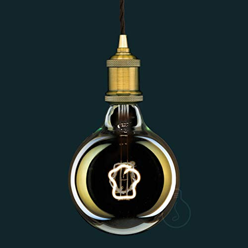 LED Glühbirne, E27, G125 Globus, Braunglas, 4 W, 150 lm, warme Farbe 2700K, Faden toque blance, Klasse A +, dimmbar