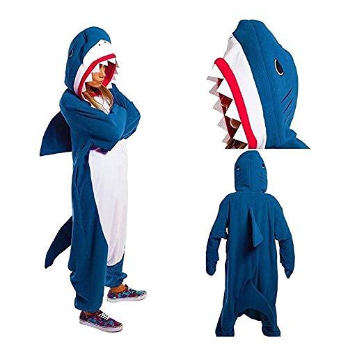 LSJSN Pijama Disfraz De Animales Chica Adulta Niños Onesie Flannel Shark Mujeres Anime Mono Disfraz Onepiece Traje Tiburón S